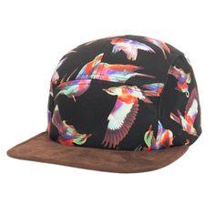 Hip Pop Birds Print Strapback Hats Flat Brim Snapback Women Men Basketball Baseball Cap Black