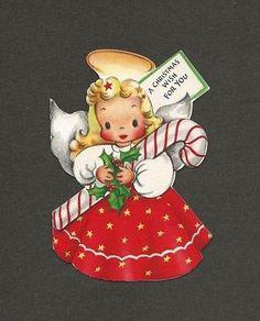 '40s Sweet Little ANGEL w/Halo, CANDY CANE Vtg Die-cut HALLMARK Christmas Card Beautiful Christmas Cards, Hallmark Christmas, Christmas Scenes, Vintage Christmas Cards, Christmas Goodies, Vintage Holiday, Christmas Pictures, Xmas Cards, Christmas Art