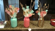 Centerpiece -color scheme peach/gold or silver/accent mint