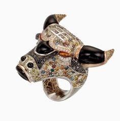 18k pink gold and palladium Bull Ring with White diamonds, yellow diamonds, black diamonds, blue diamonds, green diamonds, two bezel-set o...