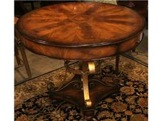 Round Foyer Table w/ Gold Base