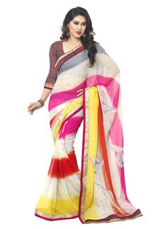 Rich look attire to give your a right choice for any party or function. Be the sunshine of anyone's eyes dressed with this interesting multi colour faux chiffon casual saree. The ethnic print work to the attire adds a sign of elegance statement for your look. Comes with matching blouse.
