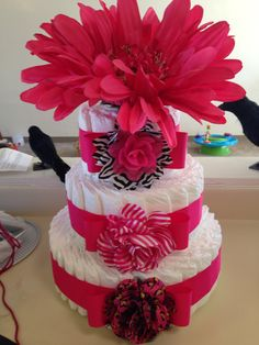 Fun and girly diaper cake.