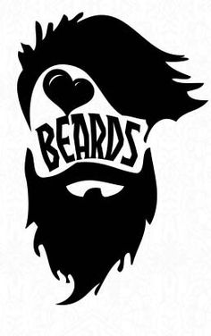 Heart Beard Vinyl Sticker