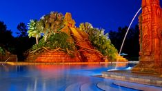 Pool Area Features A Mayan Pyramid With Spitting Jaguar Waterslide Spouting Fountain Giant Hot Tub Bar Playground And Games Arcade