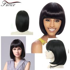 Aliexpress.com : Buy  Straight Hair Short Black Wig None Lace Synthetic Wigs 12inch 150g Heat Resistant Highlight Wig With Bangs Fiber Hair  from Reliable wig carnival suppliers on furice hair Store