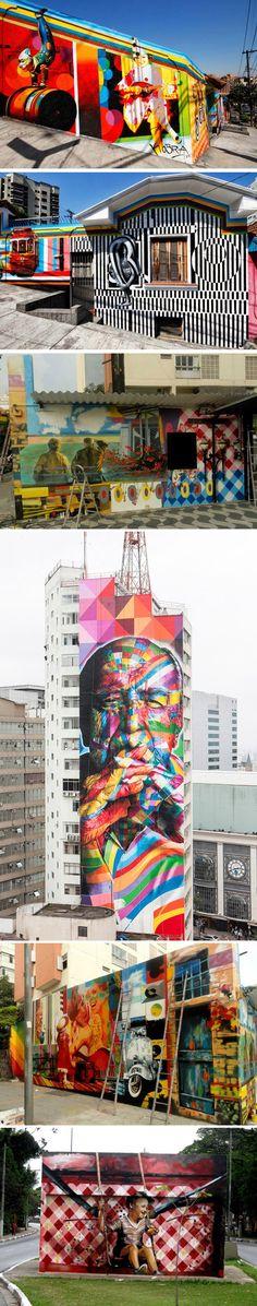 Murals by São Paulo local Eduardo Kobra Murals Street Art, Graffiti Art, Art Picasso, Pavement Art, Building Art, Mural Wall Art, Country Artists, People Art, Outdoor Art