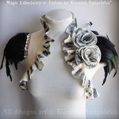 Wedding Bolero  Shrug Felted Black White /SOLDIER of by TianaCHE, $240.00