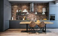 Minimalist and Modern Kitchen Decor You Will Love It - Home Decor Interior Loft Kitchen, Apartment Kitchen, Home Decor Kitchen, Apartment Design, Kitchen Brick, Best Kitchen Designs, Modern Kitchen Design, Interior Design Living Room, Modern Kitchen Furniture
