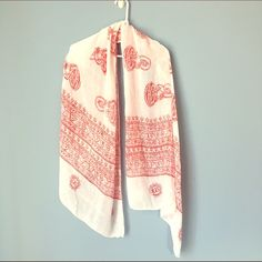 Red and White Print Scarf Lightweight scarf perfect for spring/summer. White with red print. Accessories Scarves & Wraps