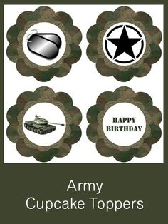 Army Cupcake Toppers - FREE PDF Download