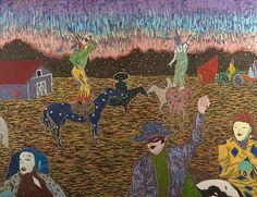 """Francis X. Pavy (American/Louisiana, b. """"Mardi Gras in Mamou"""", oil on canvas, signed, dated and with artist's copyright lower right """"Pavy x Unframed. View Image, Mardi Gras, Louisiana, Oil On Canvas, Folk Art, Auction, American, Antiques, Artist"""
