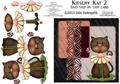 Kitschy Kat 2 6x6 in step by step card on Craftsuprint designed by Jolis DeAngelis - This handsome fella is all dressed up and ready to go! He fits all occasions and all people, man, woman or child. Sure to bring a smile. - Now available for download!