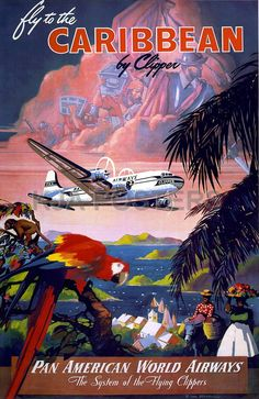Pan Am - fly to the caribbean vintage poster