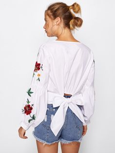 Shop Botanical Embroidered Lantern Sleeve Tie Back Top online. SheIn offers Botanical Embroidered Lantern Sleeve Tie Back Top & more to fit your fashionable needs.