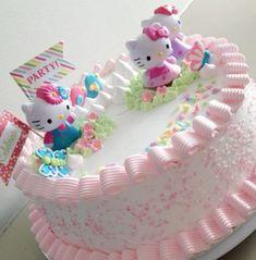 Ideas For Birthday Cake Girls Kids Hello Kitty Bolo Da Hello Kitty, Hello Kitty Birthday Cake, New Birthday Cake, Kitty Party, Cute Cakes, Pretty Cakes, Birthday Cakes Girls Kids, Hello Kitty Themes, Girl Cakes