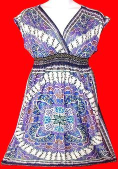 3X 2X SCARF PRINT DRESS~jersey~SMOCKED~purple/blue~SUN~SURPLICE & TORRID RING