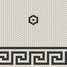 Merola Tile Metro Greek Key Matte White And Black Border 8