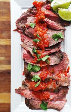 delicious-designs:  Grilled Carne Asada w. Smoky Salsa