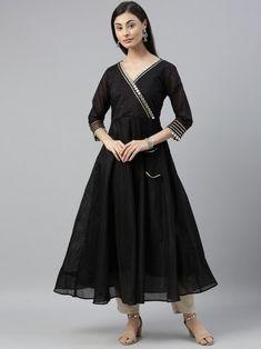 Black Mirror Embellished Anarkali Kurta Silk Anarkali Suits, Silk Lehenga, Indian Dresses Online, Gown Suit, Lehenga Style, Western Dresses, Black Mirror, Suits For Women, Fashion Dresses