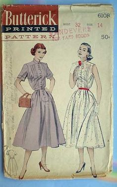 Vintage 50s Full Skirt Shirtwaist Dress Pattern 32. $9.00, via Etsy.