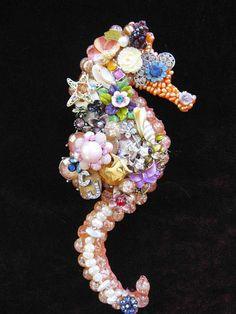 Saya Seahorse Vintage Jewelry Mosaic Wall Art by ArtCreationsByCJ, $75.00