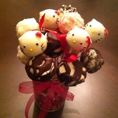 Hello Kitty cake pops!   Center pieces for my daughter's 4th birthday party.
