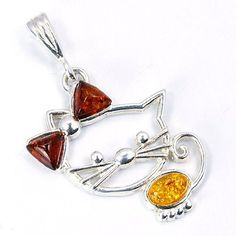 Kitty Cat' Natural Baltic Amber & Sterling Silver Pendant