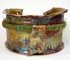 Hammered Copper Sari Silk Cuff Forged Copper Bracelet by FebraRose, $159.00