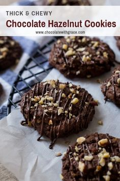 Chocolate Hazelnut Cookies made with Nutella. Drizzled with chocolate and sprinkled with nuts. Thick and chewy thanks to Country Crock Baking Sticks. They are perfect for Christmas and holiday cookie exchanges. Chocolate Hazelnut Cookies, Chewy Peanut Butter Cookies, Chocolate Cookie Dough, Chocolate Drizzle, Basic Cookies, Fancy Cookies, Baking Recipes, Cookie Recipes, Dessert Recipes