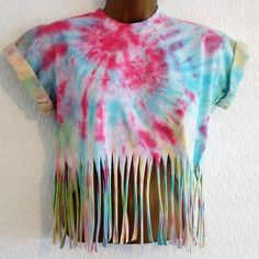 fringe crop top t-shirt s hipster grunge ibiza urban 6 8 10 soft grunge Soft Grunge Outfits, Grunge Fashion Soft, Diy Clothes Organiser, Diy Clothes Hacks, Diy Clothes Videos, Diy Crop Top, Tie Dye Crop Top, Crop Tops, Rave Shirts