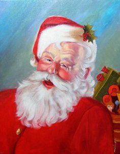 Santa Print featuring the painting Santa by Usha P