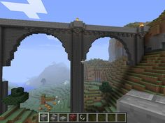 I did a castle building project for school and my teacher let me do it on minecraft and the bridge looked similar to this! Minecraft Building Guide, Minecraft Bridges, Minecraft Structures, Minecraft Plans, Minecraft Medieval, Minecraft City, Minecraft Construction, Minecraft Tutorial, Minecraft Blueprints