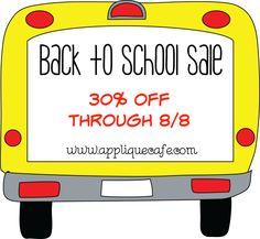 Applique Cafe Back to School Sale