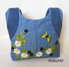 Denim bag Women's shoulder bag Bag with embroidery ribbons