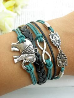 Charm Bracelet Black Leather and Bondi Blue Hemp Elephant