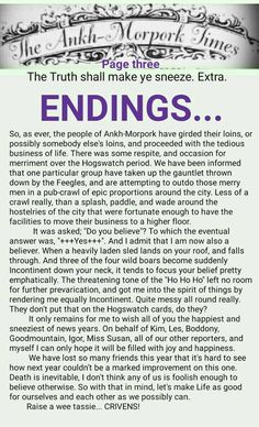 The Ankh-Morpork Times. The Truth shall make ye sneeze. Extra. ENDINGS... page three. by David Green 31 Dec 2015
