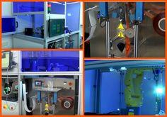 Estructura para empaquetado en hospitales. Realizada con perfiles de aluminio y accesorios MiniTec.