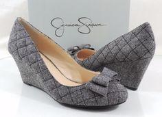 Women's Shoes Jessica Simpson SINCERELY Wedge Pumps Fabric Black / White Size 11 #JessicaSimpson #PumpsClassics #Casual