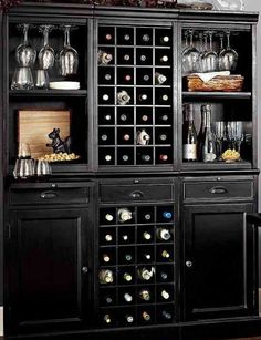 A home bar is one of the most fun places in the house, and it's a great area to add a pop of color—whether in the cabinetry, stools, walls or art. Check out 33 custom home bar design ideas. All styles, sizes and materials. These are awesome. Wine Hutch, Bar Hutch, Home Bar Designs, Wine Cabinets, Wine Fridge, Diy Décoration, Bar Furniture, Entry Furniture, Furniture Dolly