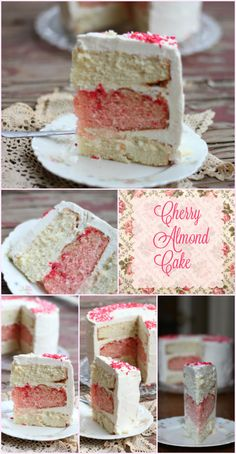 Easy 3 layer cherry almond cake with whipped white chocolate frosting is pretty enough for Mother's Day or a bridal shower. From Restless Chipotle.com
