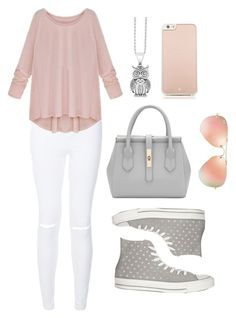 """""""Pop of pink"""" by leyna-yost ❤ liked on Polyvore featuring beauty, New Look, Converse, Lagos, Ray-Ban and Kate Spade"""