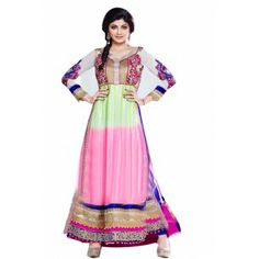 Shop Now - http://www.valehri.com/white-green-pink-designer-anarkali-style-shilpashetty-salwar-suit-1368  Price - 4,670.00 INR Rs