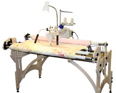 "tin lizzie long arm quilting frames | ... Quilter 18"" Long Arm Quilting Machine w/ Stitch Regulator & Wood Frame"