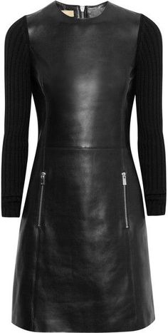 MICHAEL KORS Ribbedknit and Leather Dress