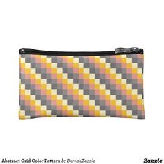 Abstract Grid Color Pattern Accessory Bag  Available on more products! Click the 'Available On' link on this product's page! Thanks for looking!  @zazzle #art #pattern #tote #bag #fashion #accessory #makeup #cosmetic #travel #pouch #zipper #women #fun #chic #red #yellow #black #grey #gray #square #grid #shop #buy #sale #shopping #modern #chic #style #carry