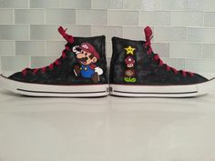 Super Mario Shoes  Custom Converse Hand Painted от catinthehatetsy