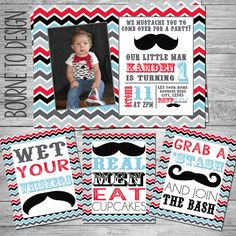 Mustache Birthday Party  Little Man Birthday by BourneToDesign