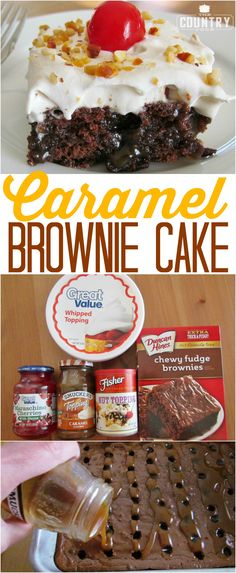 Caramel Brownie Cake recipe from The Country Cook (Chocolate Brownies With Nuts) Poke Cakes, Poke Cake Recipes, Brownie Recipes, Cupcake Cakes, Dessert Recipes, Cupcakes, Pudding Recipes, Cake Cookies, Chewy Brownies