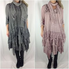 NEW Ladies Italian Lagenlook Boho Layering 3 Piece Lace Scarf Tunic Dress TOP…